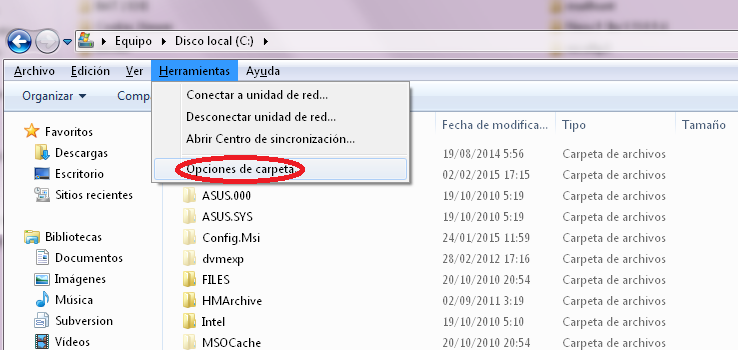 mostrar extensiones de archivo conocidas - paso 1