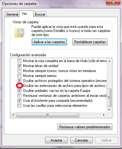 mostrar extensiones de archivo conocidas - paso 2
