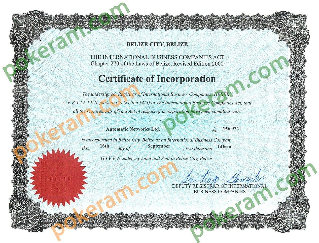 Esta imagen muestra un certificado de registro como empresa de Pokeram en Belice