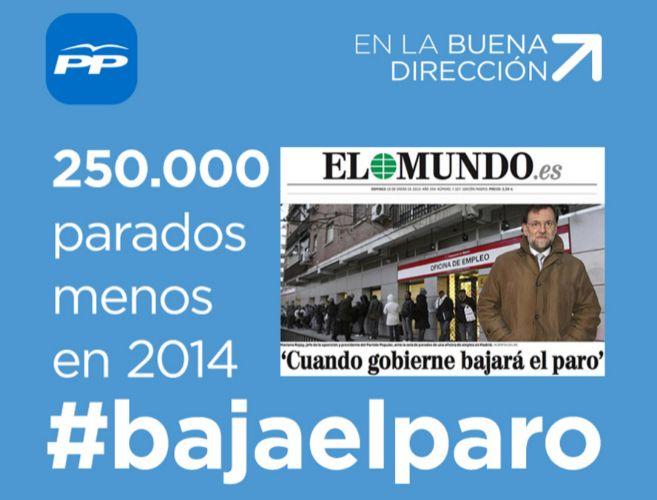 250000 parados menos en 2014
