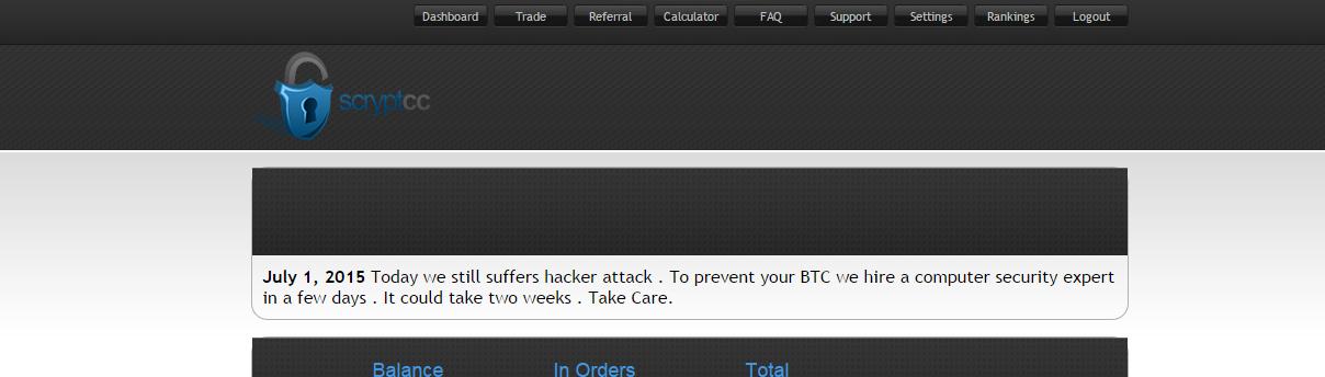 Scrypt.cc Mensaje para comprar tiempo. Salida de un ponzi de manual.